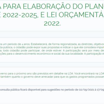 COLETA PÚBLICA DE PROPOSTAS PARA ELABORAÇÃO DO PPA / LOA