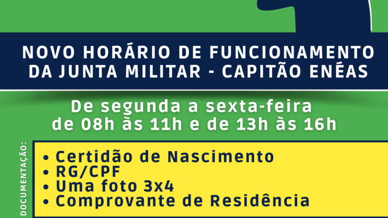 NOVO HORÁRIO DA JUNTA DE SERVIÇO MILITAR